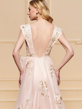 A-Line Lace Split-Front Embroidery Evening Dress