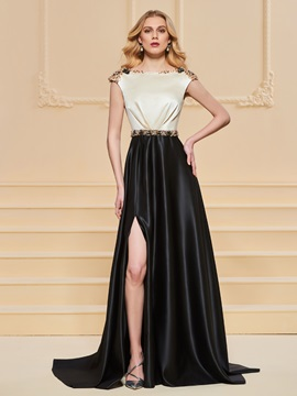A-Line Beadings Bateau Evening Dress & unusual Designer Dresses