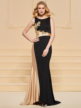 Appliques Sheath Sequins Scoop Beading Evening Dress