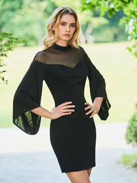 High Neck Column Long Sleeves Black Cocktail Dress & Designer Dresses under 500