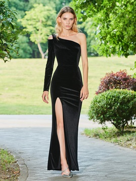 One-Shoulder Velvet Sheath Split-Front Evening Dress & Designer Dresses online