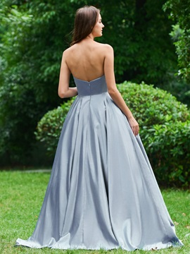 A-Line Appliques Beading Strapless Prom Dress