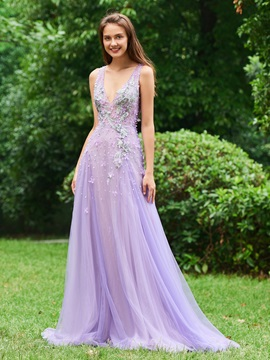 A-Line Appliques Beading V-Neck Evening Dress & Designer Dresses for less
