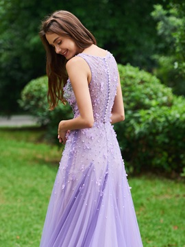 Appliques Lace Flowers Pearls Prom Dress