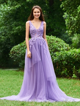 A-Line Appliques V-Neck Court Train Prom Dress