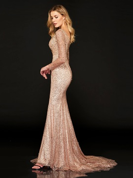 Trumpet Square Long Sleeves Beading Lace Evening Dress