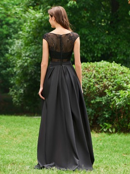Bateau Neck Button Black Lace High Low Prom Dress
