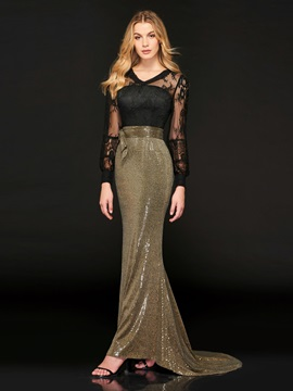 Mermaid Button Multi Color Lace Sequins Evening Dress & Designer Dresses for less