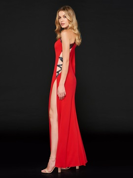 A-Line One-Shoulder Beading Split-Side Evening Dress