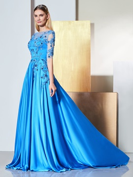 A-Line Bateau Appliques Beading Button Evening Dress & modern Designer Dresses