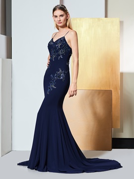 Mermaid Appliques Beading Spaghetti Straps Evening Dress & inexpensive Designer Dresses