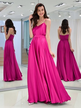 A-Line Spaghetti Straps Sashes Long Evening Dress & Designer Dresses for sale