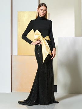 Trumpet High Neck Bowknot Sequins Evening Dress & amazing Designer Dresses