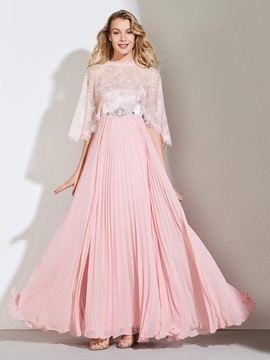 Beading Pleats Prom Dress with Lace Jacket