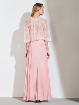 Beading Pleats Evening Dress with Lace Jacket