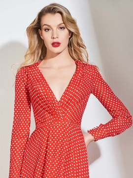 V-Neck Long Sleeves High Low Dots Evening Dress