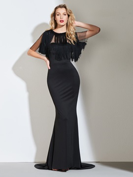 Mermaid Scoop Tassel Evening Dress & colored Designer Dresses