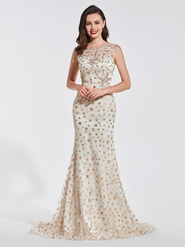 Trumpet Beading Lace Scoop Evening Dress & informal Designer Dresses