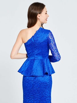 Sheath Lace One-Shoulder Ruffles Homecoming Dress