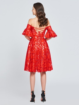 A-Line Off-the-Shoulder Lace Homecoming Dress