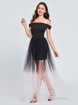 A-Line Off-the-Shoulder Pleats Gradient Prom Dress
