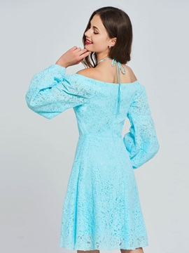 A-Line Lace Off-the-Shoulder Long Sleeves Homecoming Dress