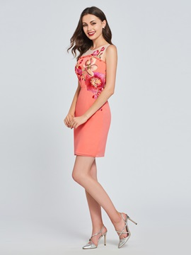 Sheath Scoop Appliques Flowers Homecoming Dress