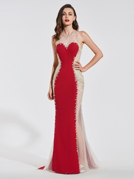 Mermaid Beading Lace Scoop Backless Evening Dress & Designer Dresses for sale