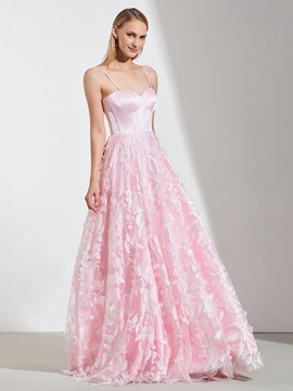 A-Line Spahetti Straps Lace Prom Dress
