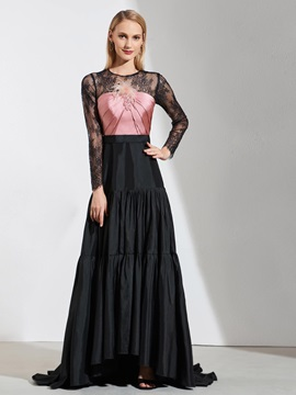 A-Line Jewel Lace Long Sleeves Evening Dress 2019 & casual Designer Dresses