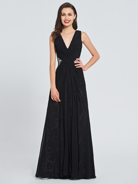 A-Line V-Neck Lace Pleats Prom Dress