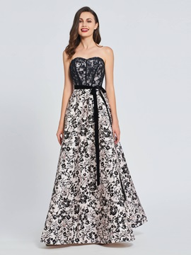 A-Line Sweetheart Bowknot Lace Printed Prom Dress & simple Designer Dresses