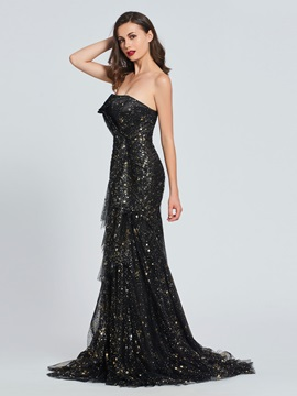 Strapless Trumpet Empire Lace Prom Dress