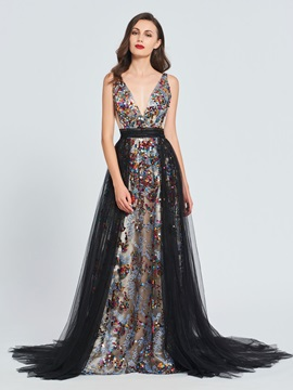 A-Line V-Neck Sequins Sashes Prom Dress