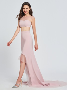 A-Line Bateau Two Pieces High Low Prom Dress & unique Designer Dresses