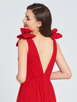 A-Line V-Neck Bowknot Prom Dress