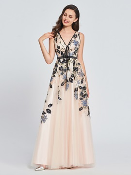 A-Line V-Neck Appliques Embroidery Prom Dress & cheap Designer Dresses