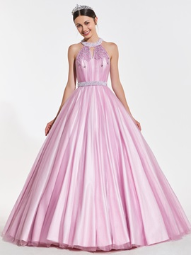 A-Line Beaded Jewel Pearls Quinceanera Dress & quality Designer Dresses