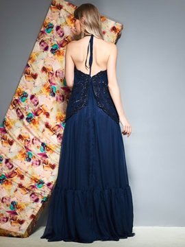 A-Line Floor-Length Appliques Sleeveless Prom Dress