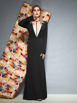 Backless Floor-Length Trumpet Long Sleeves Evening Dress & Designer Dresses from china
