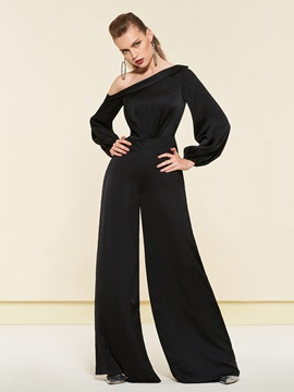 Long Sleeves One Shoulder A-Line Floor-Length Evening Jumpsuits