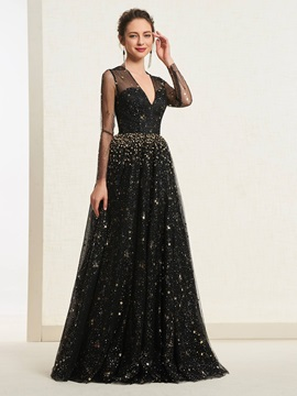 Lace Floor-Length Long Sleeves A-Line Prom Dress