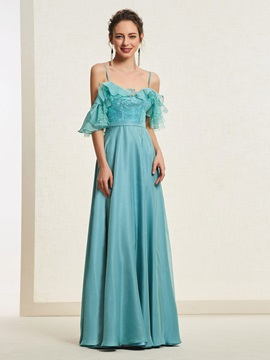 Sleeveless Ruffles A-Line Spaghetti Straps Prom Dress