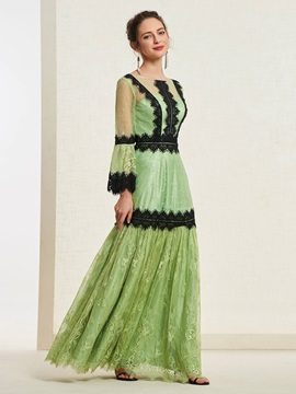 Bateau Long Sleeves Appliques Floor-Length Prom Dress