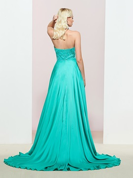 A-Line Strapless Appliques Sleeveless Prom Dress