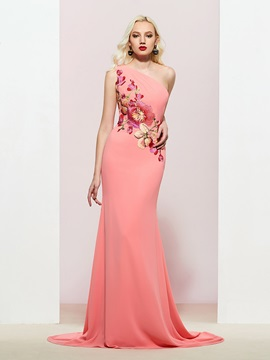 One-Shoulder Trumpet Embroidery Evening Dress 2019 & attractive Designer Dresses