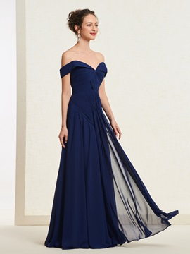 Off-the-Shoulder A-Line Pleats Floor-Length Evening Dress 2019