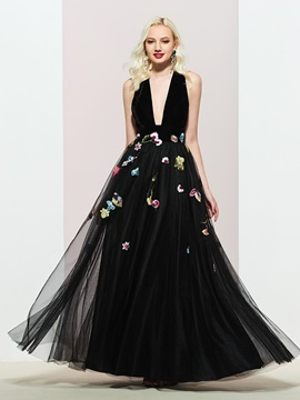Embroidery A-Line Sleeveless Floor-Length Evening Dress 2019 & Designer Dresses for sale