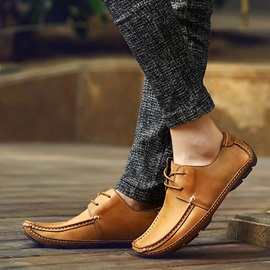 Square Toe Thread Lace-Up Men's Shoes
