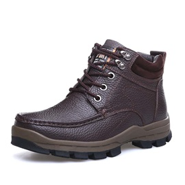 Round Toe Lace-Up Men's Boots